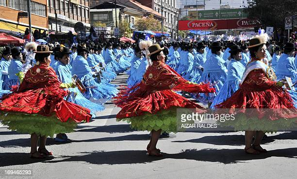 Morenada dancers take part in the opening parade of the Jesus del Gran Poder festival in La Paz on May 25 2013 The traditional Jesus del Gran Poder...