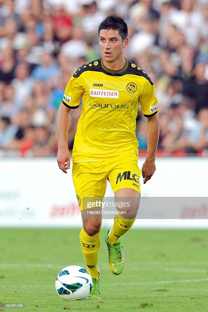 Moreno Costanzo of BSC Young Boys in action during the Swiss Super League match between FC Aarau v BSC Young Boys at Brugglifeld on August 10, 2013 in Aarau, Switzerland.