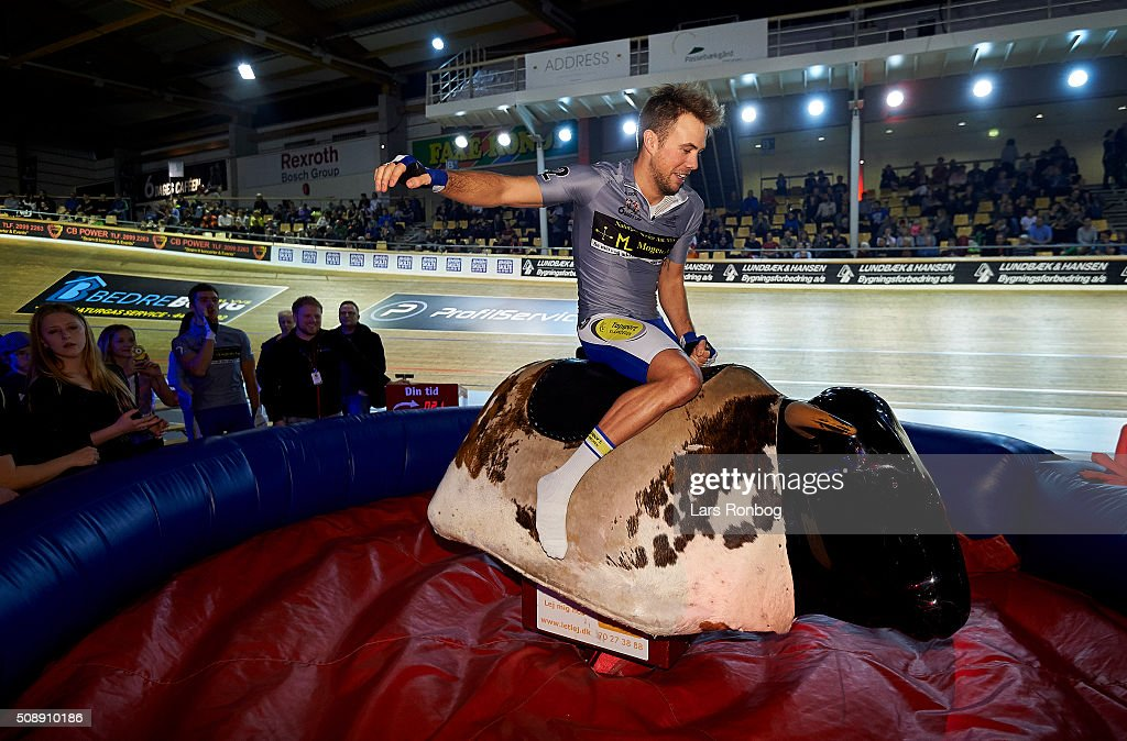 Moreno De Pauw riding a mechanic bull during day four at the Copenhagen Six Days Race Cycling at Ballerup Super Arena on February 7, 2016 in Ballerup, Denmark.