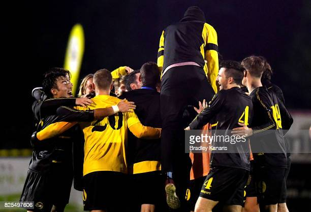 Moreton Bay United celebrate victory after winning in extra time after the FFA Cup round of 32 match between Moreton Bay United FC and Broadmeadow...