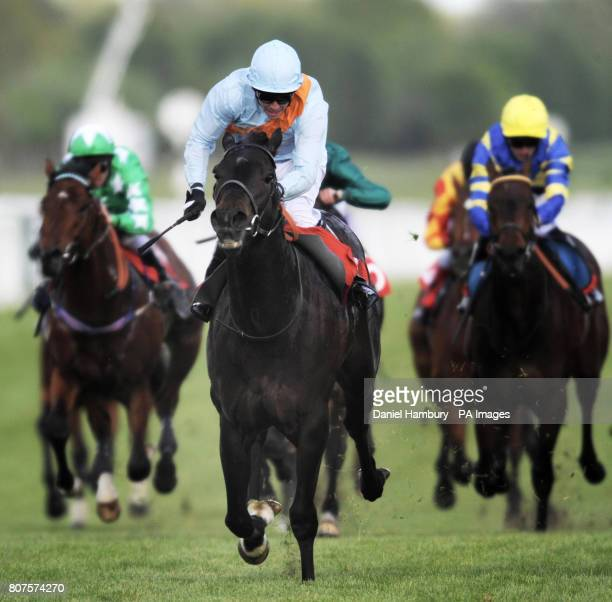 Moretta Blanche ridden by Jim Crowley wins the The Federation Of Bloodstock Agents Maiden Stakes at Newbury Racecourse