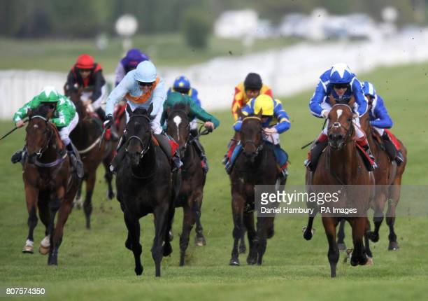 Moretta Blanche ridden by Jim Crowley wins the The Federation Of Bloodstock Agents Maiden Stakes ahead of Engulf ridden by Johnny Murtagh at Newbury...