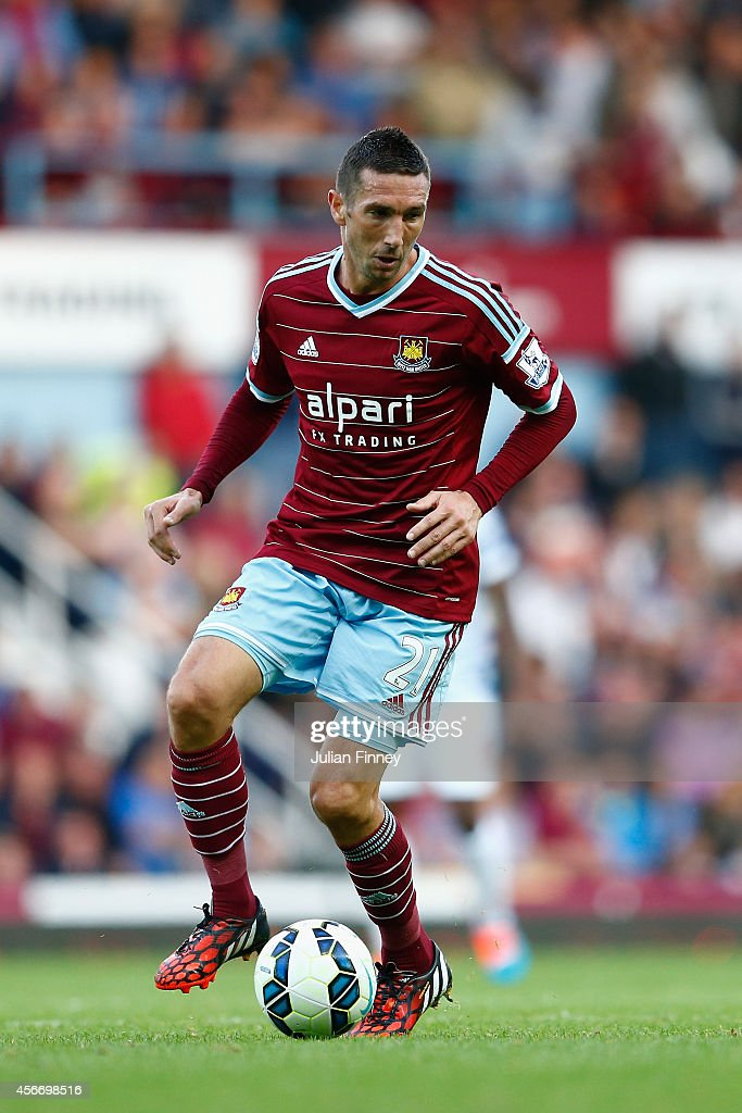 <a gi-track='captionPersonalityLinkClicked' href=/galleries/search?phrase=Morgan+Amalfitano&family=editorial&specificpeople=2528212 ng-click='$event.stopPropagation()'>Morgan Amalfitano</a> of West Ham in action during the Barclays Premier League match between West Ham United and Queens Park Rangers at Boleyn Ground on October 5, 2014 in London, England