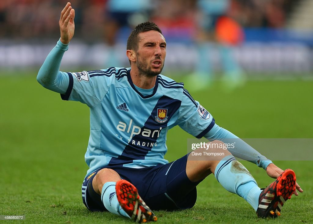 <a gi-track='captionPersonalityLinkClicked' href=/galleries/search?phrase=Morgan+Amalfitano&family=editorial&specificpeople=2528212 ng-click='$event.stopPropagation()'>Morgan Amalfitano</a> of West Ham United during the Barclays Premier League match between Stoke City and West Ham United at the Britannia Stadium on November 1, 2014 in Stoke on Trent, England.