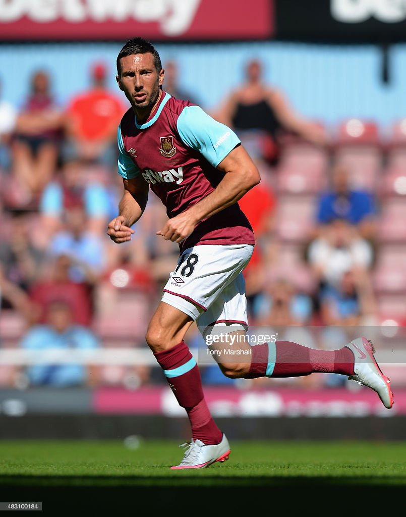 <a gi-track='captionPersonalityLinkClicked' href=/galleries/search?phrase=Morgan+Amalfitano&family=editorial&specificpeople=2528212 ng-click='$event.stopPropagation()'>Morgan Amalfitano</a> of West Ham United during the Betway Cup match between West Ham Utd and SV Werder Bremen at Boleyn Ground on August 2, 2015 in London, England.