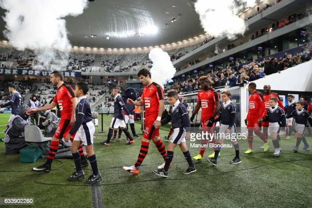 Morgan Amalfitano Yoann Gourcuff and Joris Gnagnon of Rennes during the Ligue 1 match between Girondins de Bordeaux and Stade Rennais Rennes at...