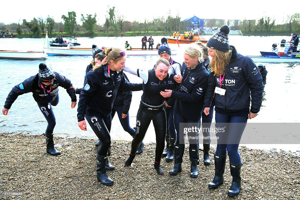 Morgan BaynhamWilliams the Cox of the victorious Oxford crew is thrown into the River Thames following The Cancer Research UK Women's Boat Race on...
