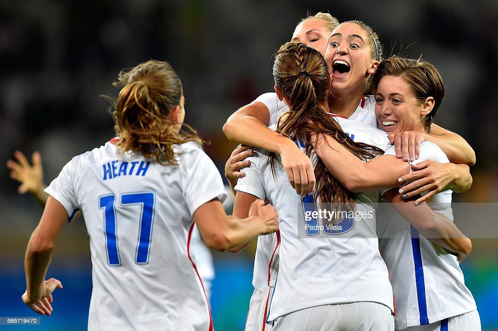Morgan Brian #14 of United States, Tobin Heath #17 of United States, Meghan Klingenberg #7 of United States and Alex Morgan #13 of United States celebrate after Alex Morgan scores in the Women's Group G first round match between the United States and New Zealand during the Rio 2016 Olympic Games at Mineirao Stadium on August 3, 2016 in Belo Horizonte, Brazil.