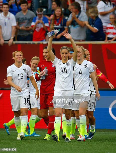 Morgan Brian of United States waves after the United States 31 victory against Australia during the FIFA Women's World Cup 2015 Group D match at...