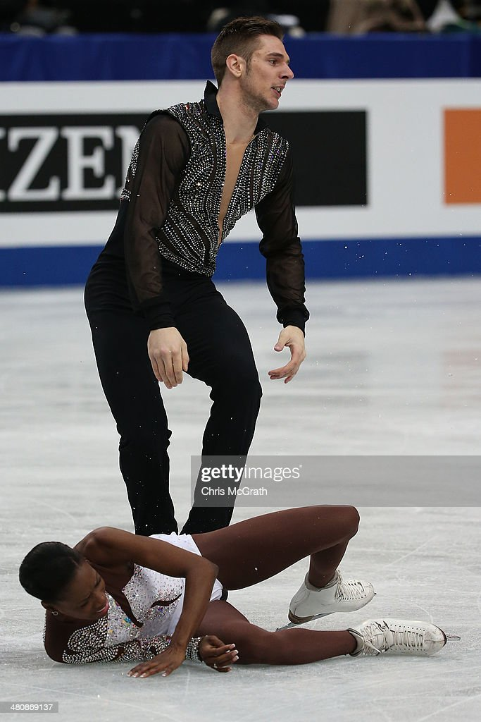 Morgan Cipres of France reacts after dropping partner <a gi-track='captionPersonalityLinkClicked' href=/galleries/search?phrase=Vanessa+James&family=editorial&specificpeople=4113198 ng-click='$event.stopPropagation()'>Vanessa James</a> in the Pairs Free Program during ISU World Figure Skating Championships at Saitama Super Arena on March 27, 2014 in Saitama, Japan.