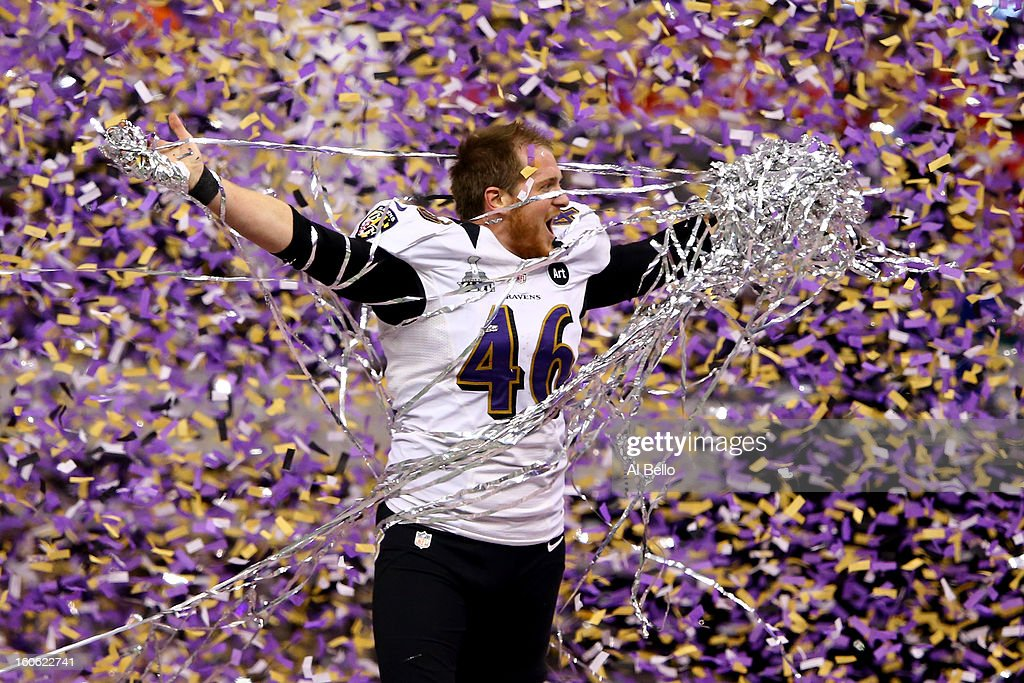 Morgan Cox of the Baltimore Ravens celebrates after defeating the San Francisco 49ers during Super Bowl XLVII at the MercedesBenz Superdome on...