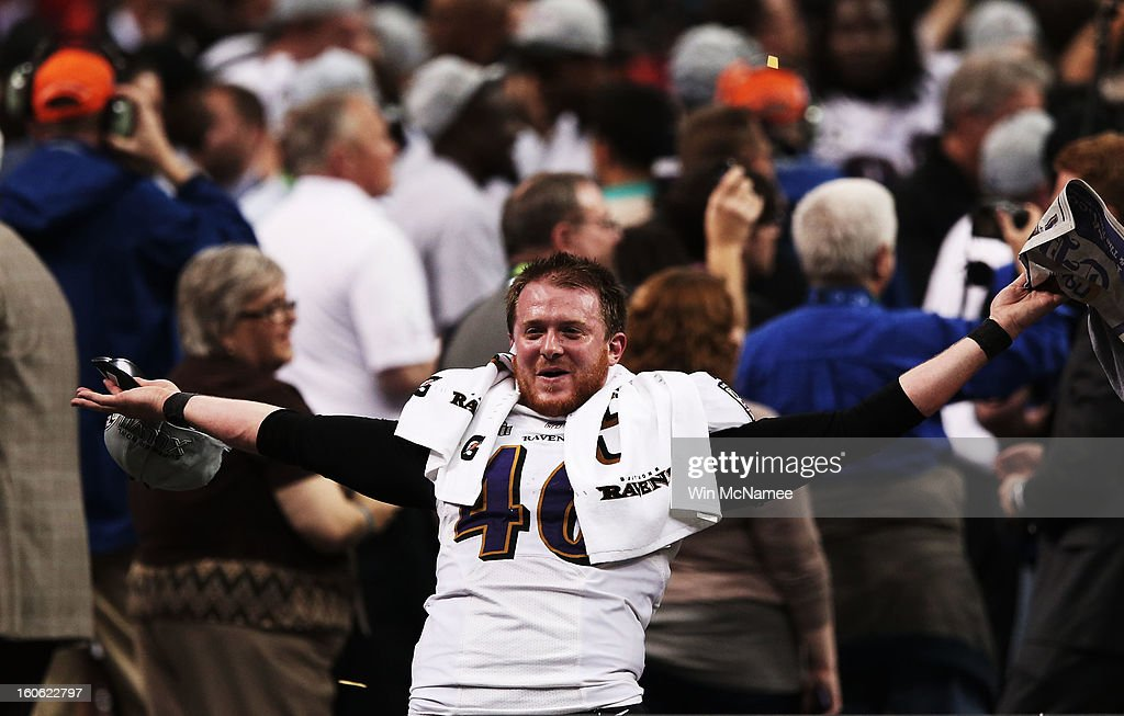 Morgan Cox of the Baltimore Ravens celebrates after the Ravens won 3431 against the San Francisco 49ers during Super Bowl XLVII at the MercedesBenz...
