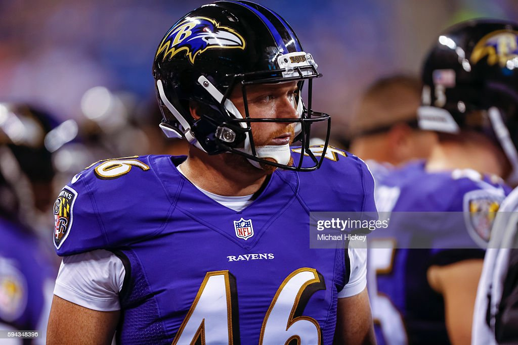 Morgan Cox of the Baltimore Ravens is seen on the sidelines during the game against the Indianapolis Colts at Lucas Oil Stadium on August 20 2016 in...