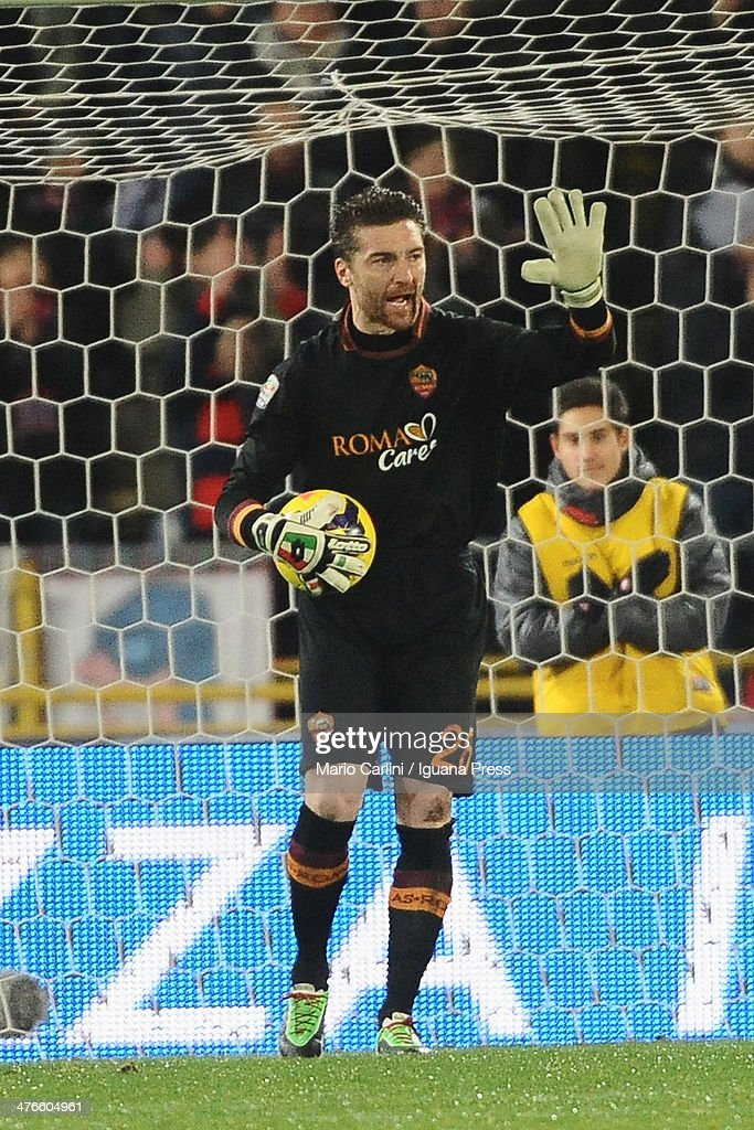 <a gi-track='captionPersonalityLinkClicked' href=/galleries/search?phrase=Morgan+De+Sanctis&family=editorial&specificpeople=615695 ng-click='$event.stopPropagation()'>Morgan De Sanctis</a> goalkeepeer of AS Roma reacts during the Serie A match between Bologna FC and AS Roma at Stadio Renato Dall'Ara on February 23, 2014 in Bologna, Italy.