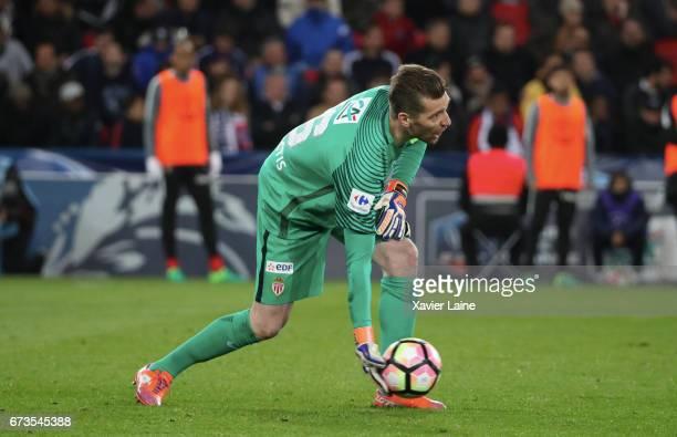 Morgan De Sanctis of AS Monaco in action during the French Cup SemiFinal match between Paris SaintGermain and As Monaco at Parc des Princes on April...
