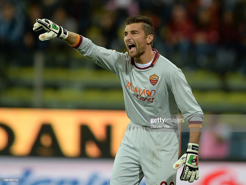 <a gi-track='captionPersonalityLinkClicked' href=/galleries/search?phrase=Morgan+De+Sanctis&family=editorial&specificpeople=615695 ng-click='$event.stopPropagation()'>Morgan De Sanctis</a> of AS Roma reacts during the Serie A match between Parma FC and AS Roma at Stadio Ennio Tardini on September 16, 2013 in Parma, Italy.