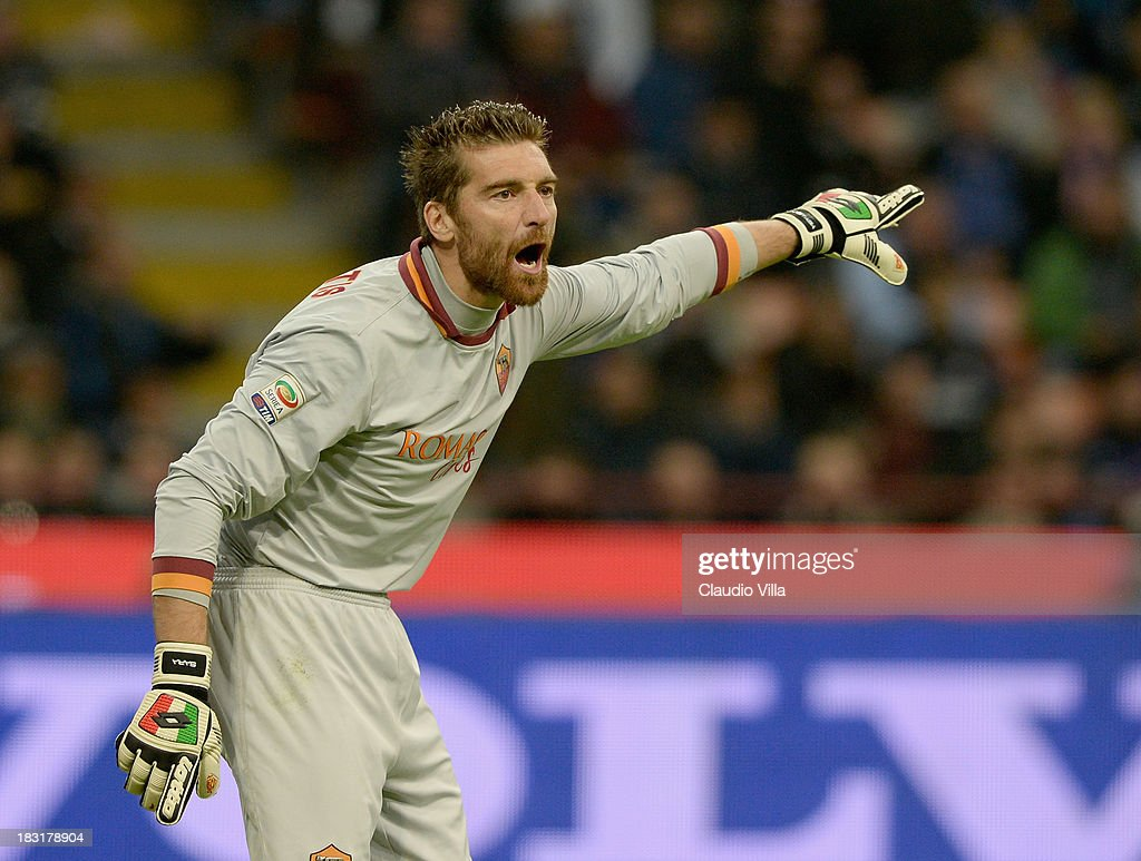 <a gi-track='captionPersonalityLinkClicked' href=/galleries/search?phrase=Morgan+De+Sanctis&family=editorial&specificpeople=615695 ng-click='$event.stopPropagation()'>Morgan De Sanctis</a> of AS Roma reacts during the Serie A match between FC Internazionale Milano and AS Roma at Stadio Giuseppe Meazza on October 5, 2013 in Milan, Italy.