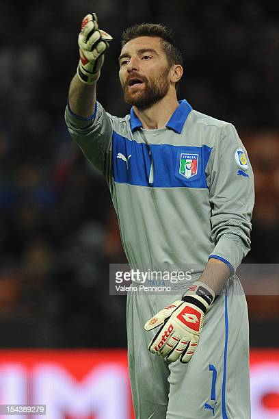 Morgan De Sanctis of Italy gestures during the FIFA 2014 World Cup qualifier match between Italy and Denmark at Stadio Giuseppe Meazza on October 16...
