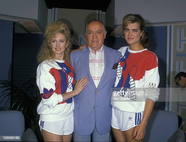 Morgan Fairchild Bob Hope and Brooke Shields during Taping of Bob Hope Special 1988 at NBC Studios in Burbank California United States