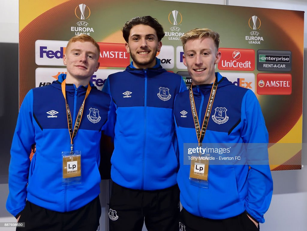 Morgan Feeney, Fraser Hornby and Harry Charsley of Everton pose for a photo after the UEFA Europa League Group E match between Apollon Limassol and Everton at GSP Stadium on December 7, 2017 in Nicosia, Cyprus.