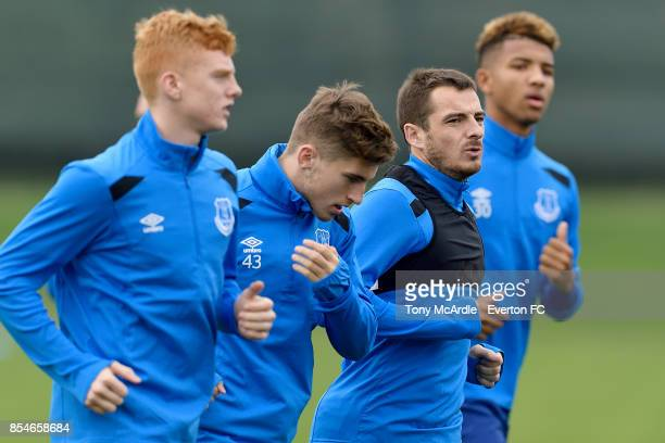 Morgan Feeney Jonjoe Kenny Leighton Baines and Mason Holgate during the Everton training session at USM Finch Farm on September 27 2017 in Halewood...