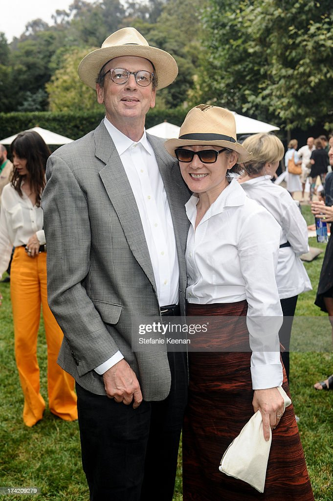Morgan Fisher and Margaret Honda attend LAXART 2013 Garden Party on July 21, 2013 in Los Angeles, California.