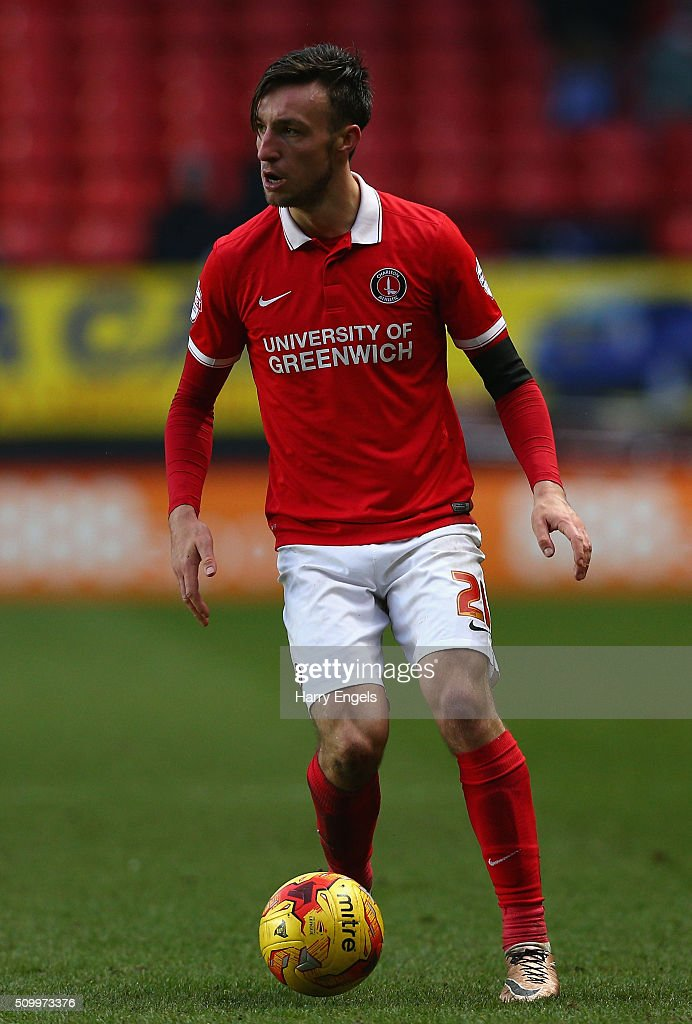 Morgan Fox of Charlton runs upfield during the Sky Bet Championship match between Charlton Athletic and Cardiff City at The Valley on February 13, 2016 in London, United Kingdom.