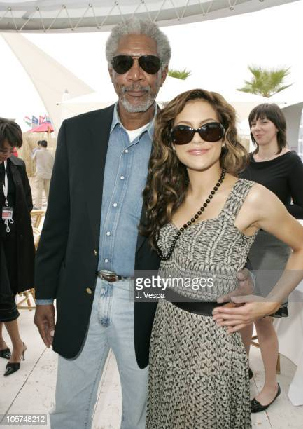 Morgan Freeman and Brittany Murphy during 2005 Cannes Film Festival Miramax Luncheon Inside at The Majestic in Cannes France