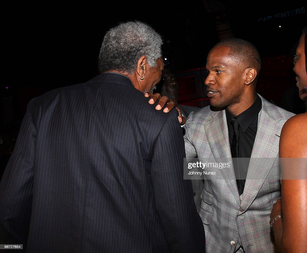 <a gi-track='captionPersonalityLinkClicked' href=/galleries/search?phrase=Morgan+Freeman&family=editorial&specificpeople=169833 ng-click='$event.stopPropagation()'>Morgan Freeman</a> and <a gi-track='captionPersonalityLinkClicked' href=/galleries/search?phrase=Jamie+Foxx&family=editorial&specificpeople=201715 ng-click='$event.stopPropagation()'>Jamie Foxx</a> attend the 'Pre' Party hosted by Debra Lee in celebration of the BET Awards 2009 at the Drago Centro at the Jewel Box on June 27, 2009 in Los Angeles, California.