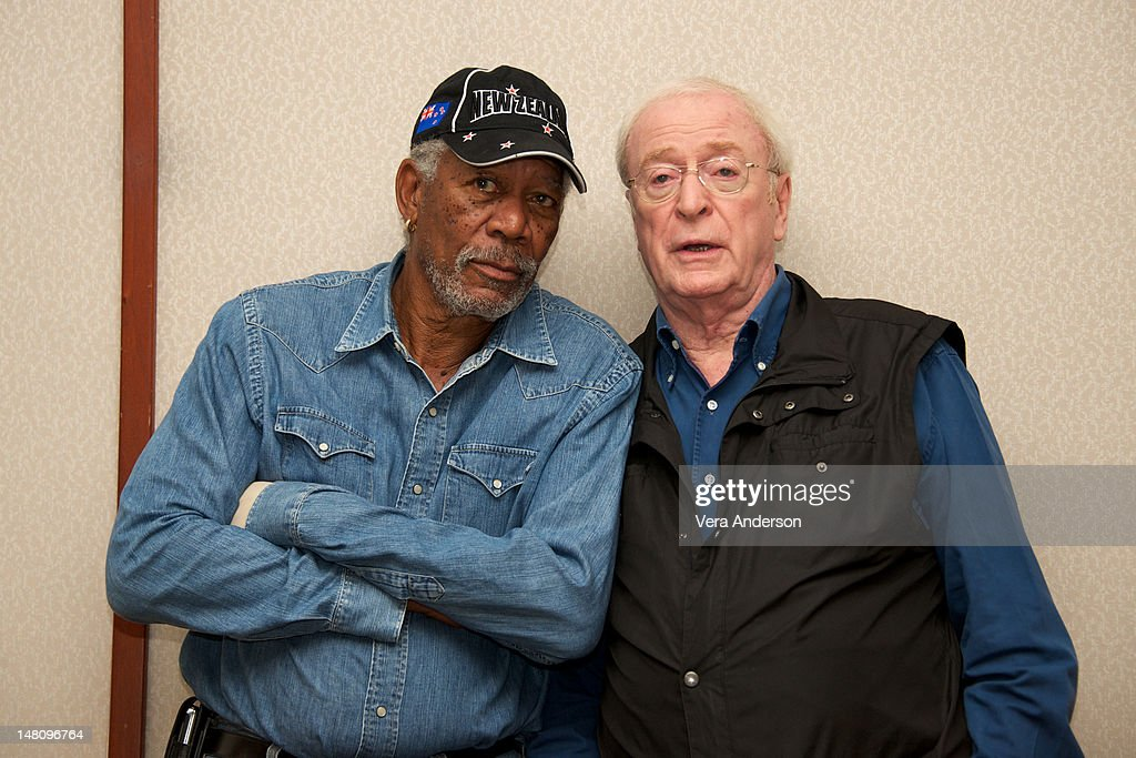 <a gi-track='captionPersonalityLinkClicked' href=/galleries/search?phrase=Morgan+Freeman&family=editorial&specificpeople=169833 ng-click='$event.stopPropagation()'>Morgan Freeman</a> and <a gi-track='captionPersonalityLinkClicked' href=/galleries/search?phrase=Michael+Caine+-+Actor&family=editorial&specificpeople=159746 ng-click='$event.stopPropagation()'>Michael Caine</a> at 'The Dark Knight Rises' Press Conference at The Beverly Hilton Hotel on July 8, 2012 in Beverly Hills, California.