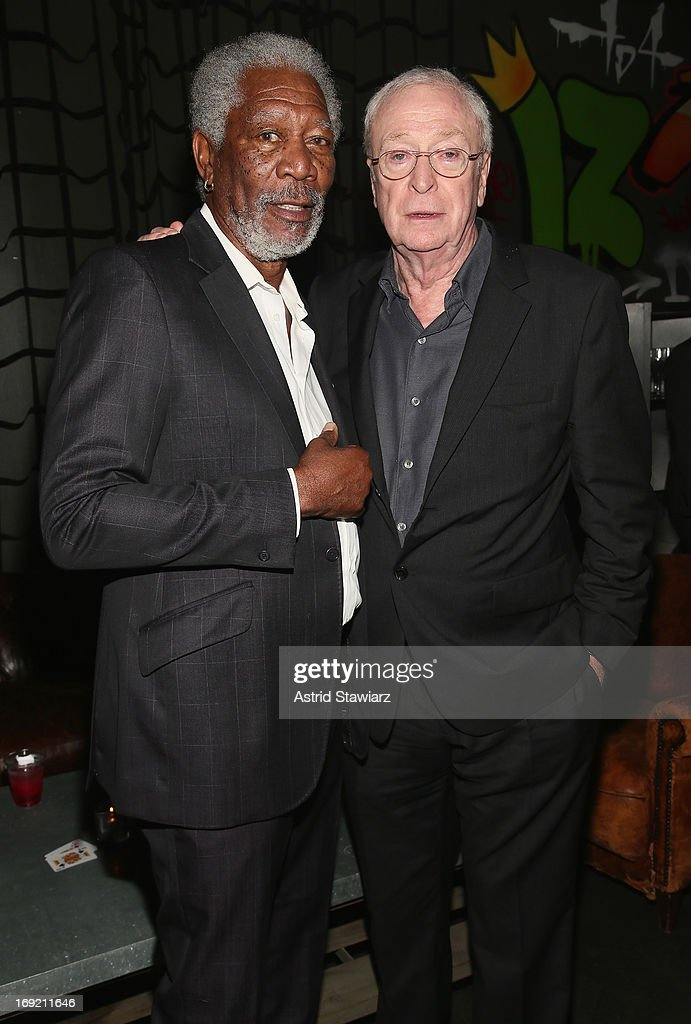 <a gi-track='captionPersonalityLinkClicked' href=/galleries/search?phrase=Morgan+Freeman&family=editorial&specificpeople=169833 ng-click='$event.stopPropagation()'>Morgan Freeman</a> and <a gi-track='captionPersonalityLinkClicked' href=/galleries/search?phrase=Michael+Caine+-+Actor&family=editorial&specificpeople=159746 ng-click='$event.stopPropagation()'>Michael Caine</a> attend the 'Now You See Me' New York Premiere after party at Good Units at Hudson Hotel on May 21, 2013 in New York City.