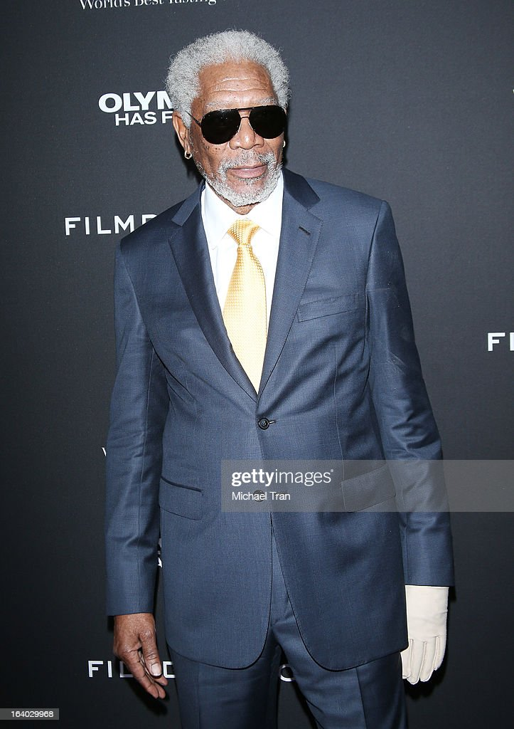 <a gi-track='captionPersonalityLinkClicked' href=/galleries/search?phrase=Morgan+Freeman&family=editorial&specificpeople=169833 ng-click='$event.stopPropagation()'>Morgan Freeman</a> arrives at the Los Angeles premiere of 'Olympus Has Fallen' held at ArcLight Cinemas Cinerama Dome on March 18, 2013 in Hollywood, California.