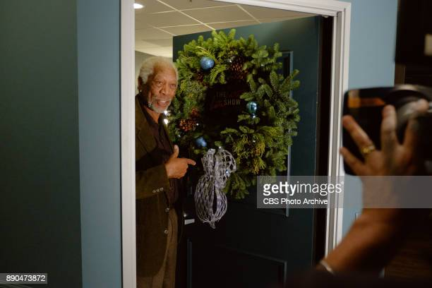 Morgan Freeman checks in from the green room with James Corden during 'The Late Late Show with James Corden' Wednesday December 6 2017 On The CBS...
