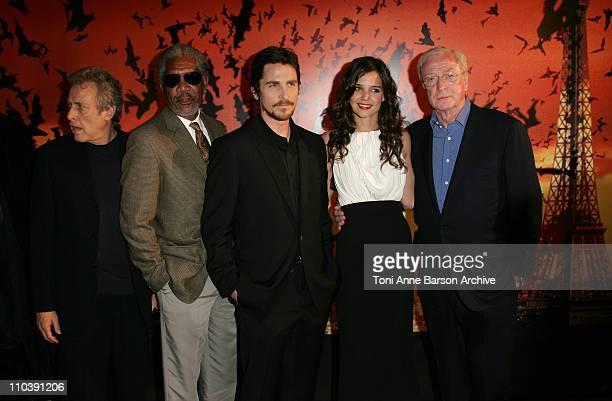 Morgan Freeman Christian Bale Katie Holmes and Michael Caine