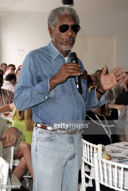 Morgan Freeman during 2005 Cannes Film Festival Miramax Luncheon Inside at The Majestic in Cannes France