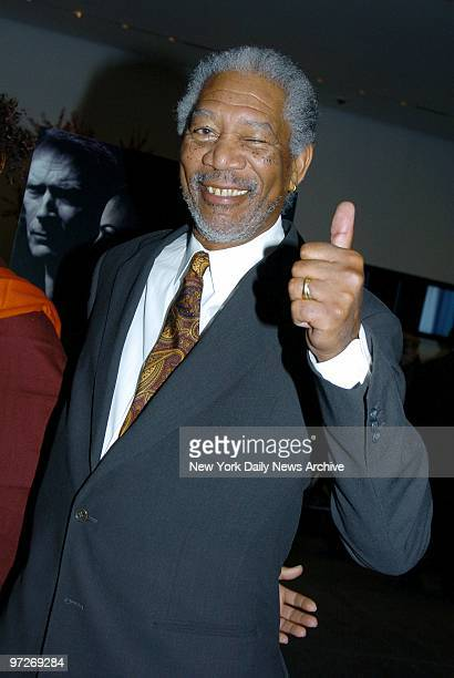 Morgan Freeman gives a thumbsup to the premiere of the movie 'Million Dollar Baby' at the Museum of Modern Art He stars in the film