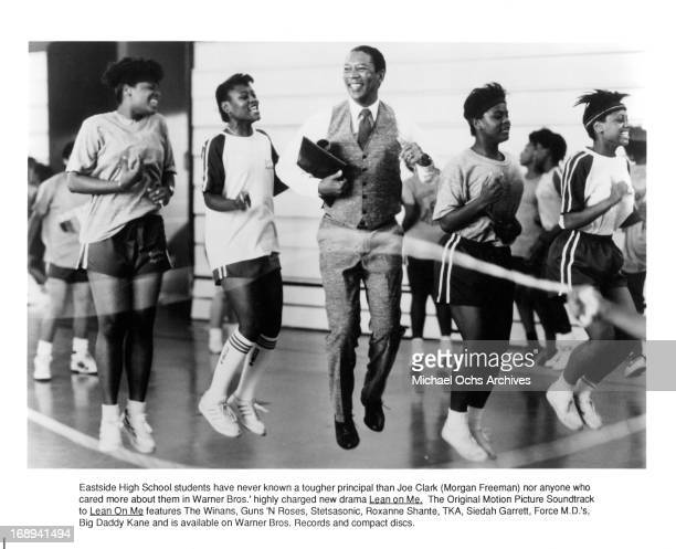 Morgan Freeman jumps rope with students in a scene from the film 'Lean On Me' 1989