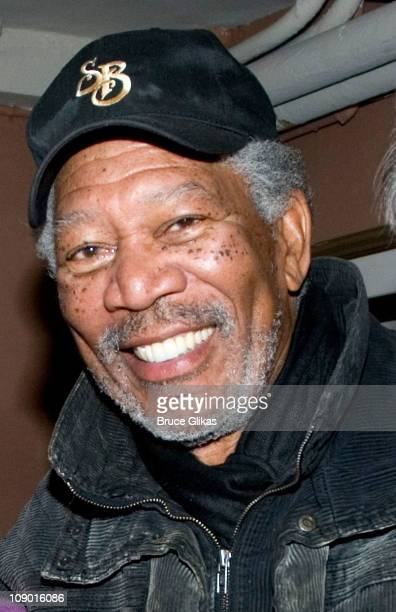 Morgan Freeman poses at 'Driving Miss Daisy' on Broadway at The Golden Theatre on February 10 2011 in New York City