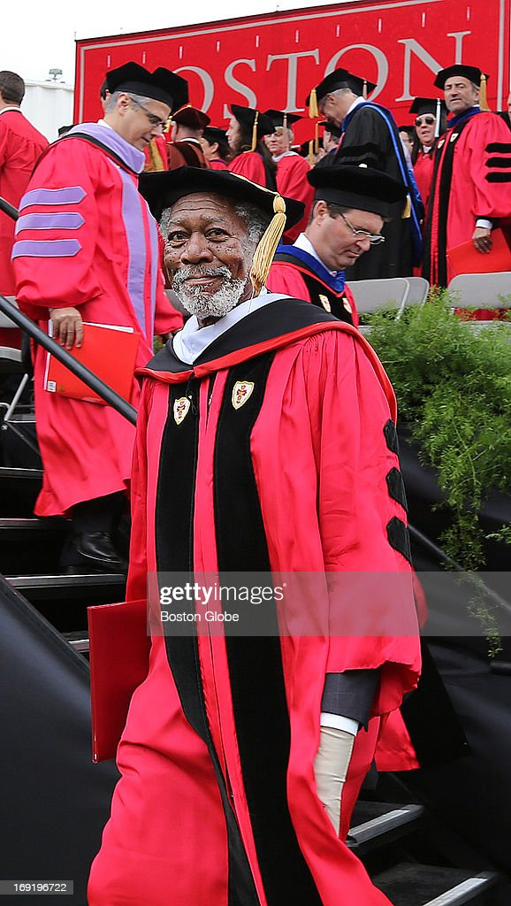 Morgan Freeman received a Doctor of Humane Letters honorary degree at Boston University's commencement ceremony on Nickerson Field on Sunday May 19...