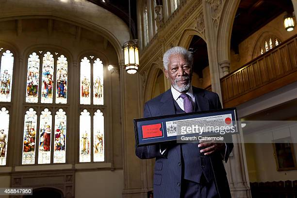 Morgan Freeman receives the Freedom of the City of London at The Guildhall on November 12 2014 in London England