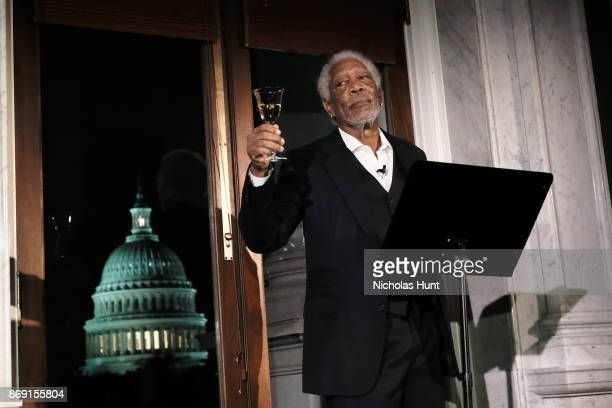Morgan Freeman toasts the AFI during the AFI 50th Anniversary Gala at The Library of Congress on November 1 2017 in Washington DC