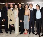 Morgan Freeman Tom Hardy Anne Hathaway Christian Bale Marion Cotillard Joseph GordonLevitt and Cillian Murphy attend the European Premiere of 'The...