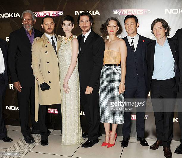 Morgan Freeman Tom Hardy Anne Hathaway Christian Bale Marion Cotillard Joseph GordonLevitt and Cillian Murphy attend the European Premiere of 'The...