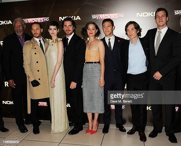 Morgan Freeman Tom Hardy Anne Hathaway Christian Bale Marion Cotillard Joseph GordonLevitt Cillian Murphy and writer Jonathan Nolan attend the...