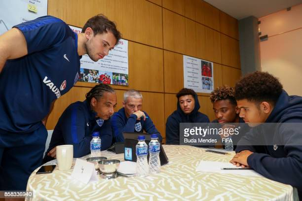 Morgan GibbsWhite Angel Gomes and Jadon Sancho of England attend a FIFA Ethics Workshop ahead of the FIFA U17 World Cup India 2017 tournament at...