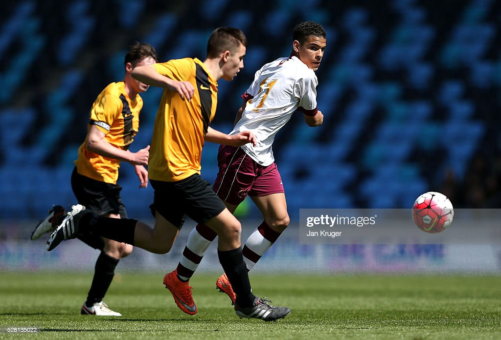 Morgan Gibbs-White of Thomas Telford School controls the ball during the under 16 Schools' Cup final match between Thomas Telford School and Samuel Whitbread Academy at the Academy Training Ground on May 04, 2016 in Manchester, England.