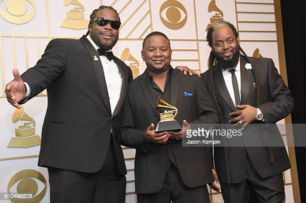 Morgan Heritage poses with the trophy for Best Reggae Album 'Strictly Roots' poses in the press room during The 58th GRAMMY Awards at Staples Center...