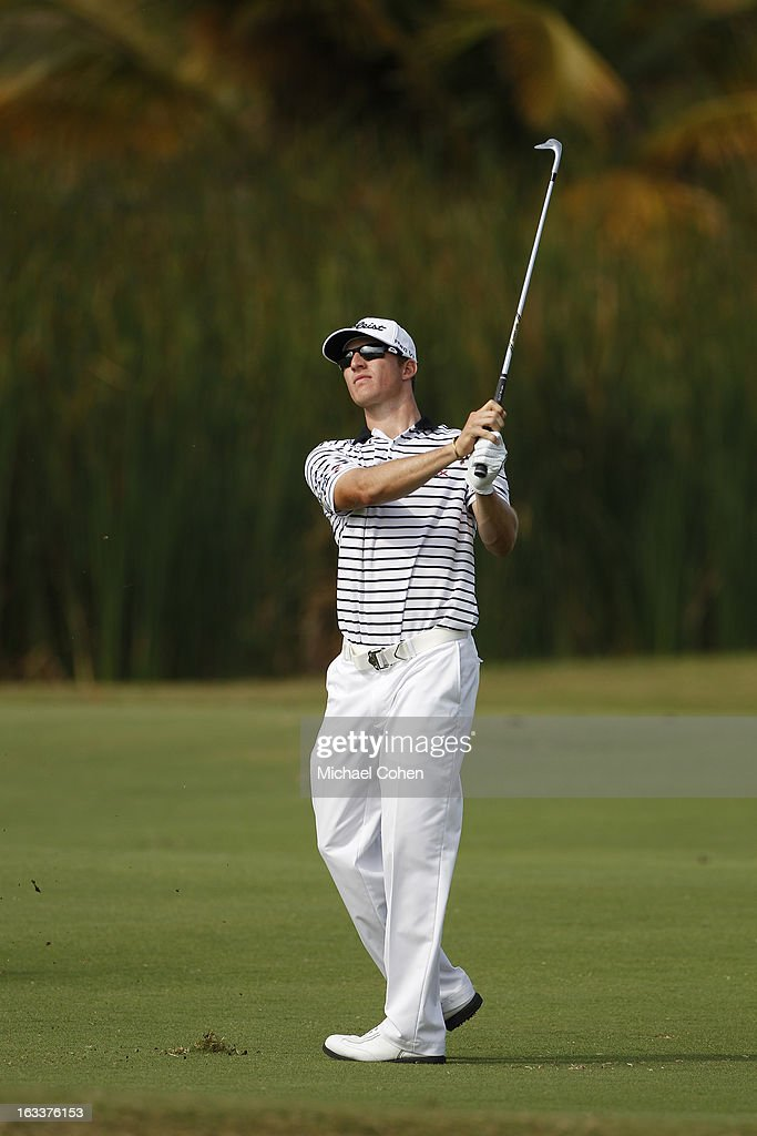 Morgan Hoffmann hits his second shot on the 17th hole during the second round of the Puerto Rico Open presented by seepuertorico.com held at Trump International Golf Club on March 8, 2013 in Rio Grande, Puerto Rico.