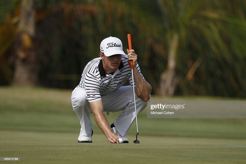 Morgan Hoffmann lines up a birdie putt on the 16th green during the second round of the Puerto Rico Open presented by seepuertorico.com held at Trump International Golf Club on March 8, 2013 in Rio Grande, Puerto Rico.