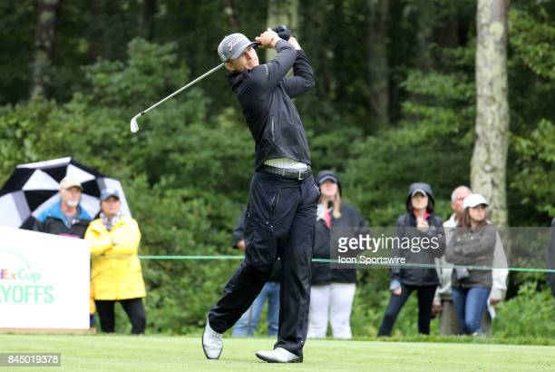 Morgan Hoffmann of the United States hits from the 8th tee during the third round of the Dell Technologies Championship on September 3 at TPC Boston...
